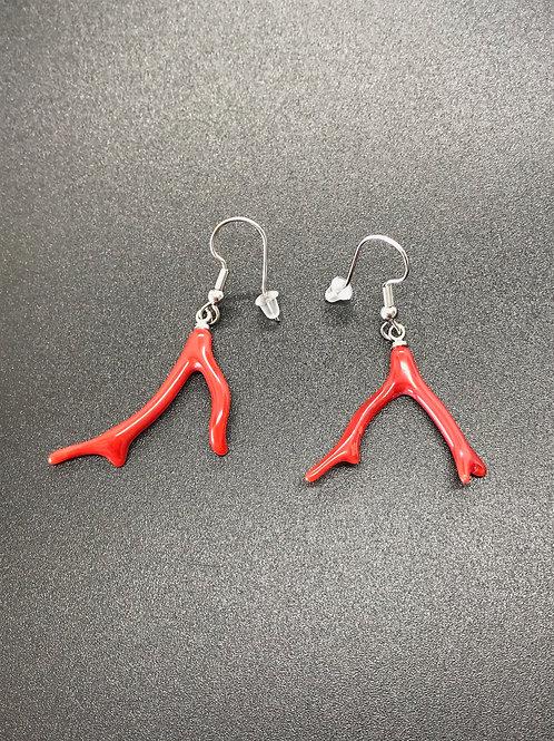 Boucles d'oreilles Corail Rouge Véritable