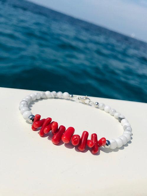 Bracelet Corail et Howlite