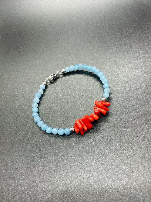 Bracelet Corail Rouge Aigue Marine