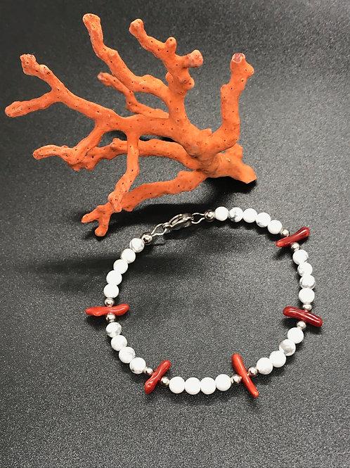 Bracelet Corail Rouge Howlite