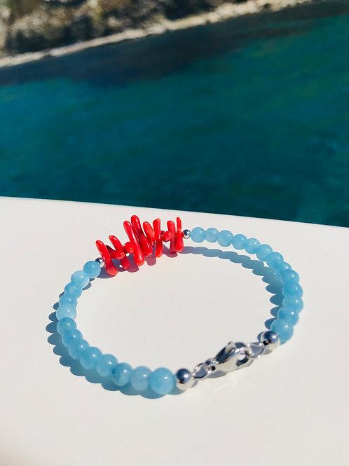 Bracelet Corail Rouge et aigue-marine