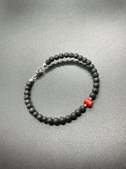 Bracelet Corail Rouge et pierre de lave
