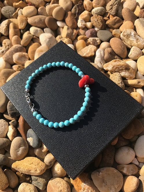 Bracelet d'amour Corail Rouge et turquoise