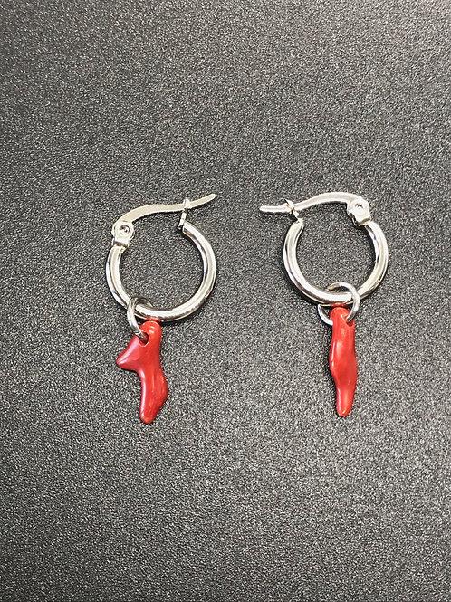 Boucles d'oreilles créoles Corail Rouge