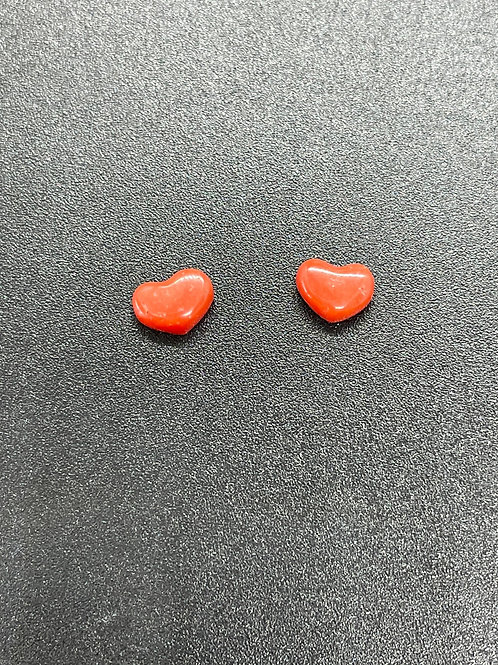 Cabochons coeurs Corail Rouge