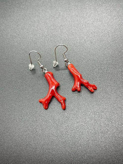 Bijou Boucles d'oreilles Corail Rouge Véritable
