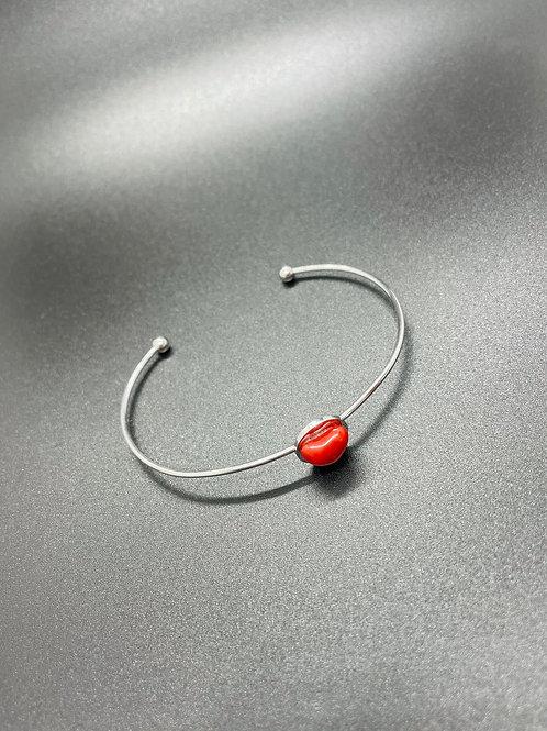 Bracelet jonc coeur Corail Rouge