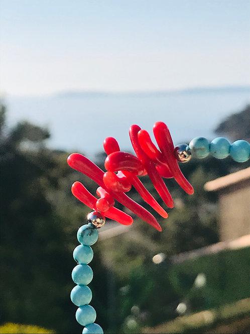 Bracelet Corail Rouge et turquoise