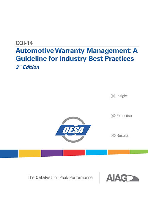 CQI-14 Automotive Warranty Management: A Guideline for Industry Best Practices