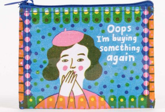 Blue Q Oops, Buying Something coin purse