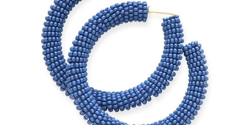 Ink & Alloy seed bead hoop in Lapis