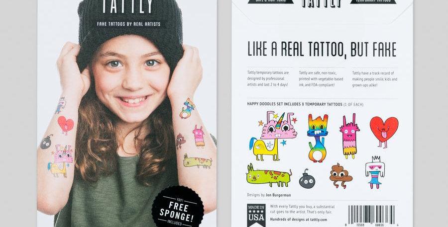 Tattly Happy Doodles temporary tattoo set of 8
