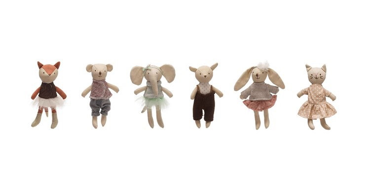 "Creative Co-Op 6"" Linen Mini Animals"