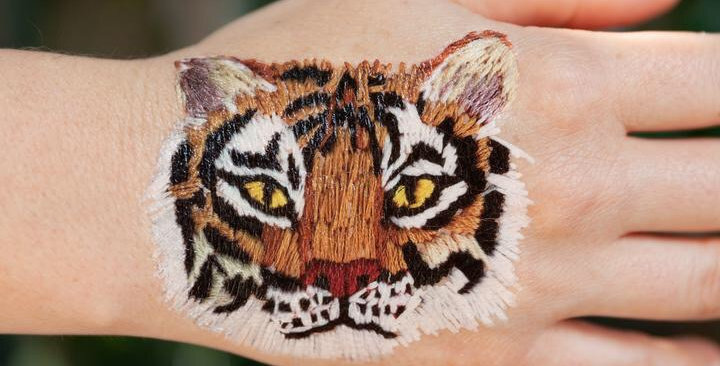 Tattly Stitched Tiger temporary tattoo