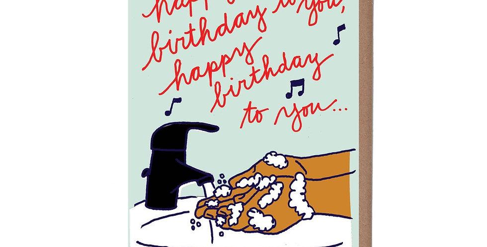 La Familia Green Hand Washing Birthday card