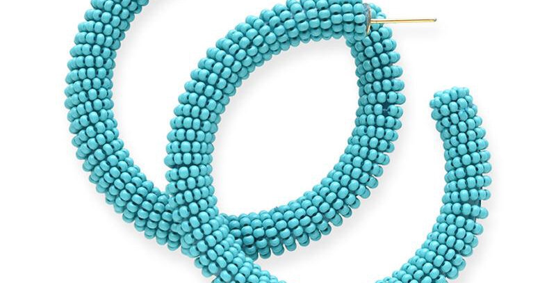 Ink & Alloy seed bead hoop in turquoise