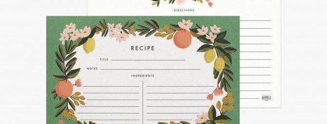 Rifle Paper Co Citrus Floral Recipe Cards