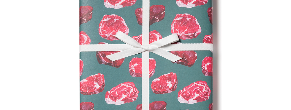 Red Cap Cards meat gift wrap by the sheet