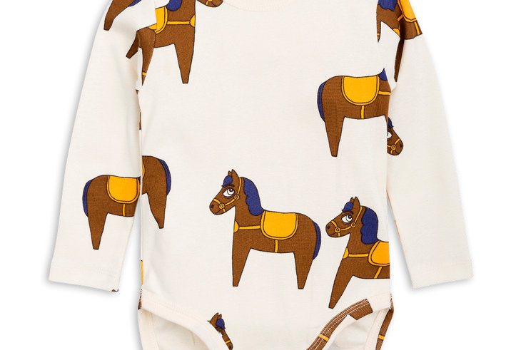 Mini Rodini yellow horse baby onesie