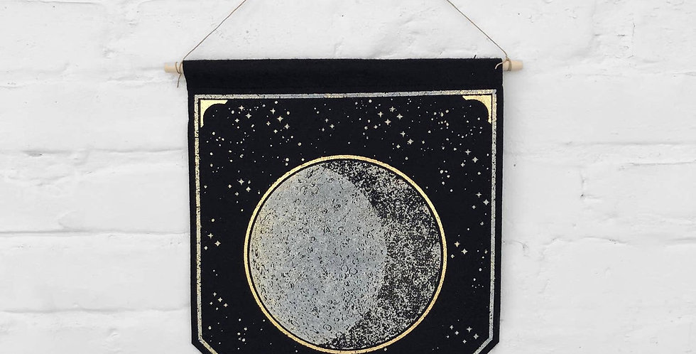 The Rise And Fall Moon Banner - Black