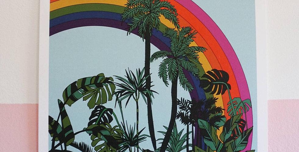 Ash + Chess Rainbow Palms print