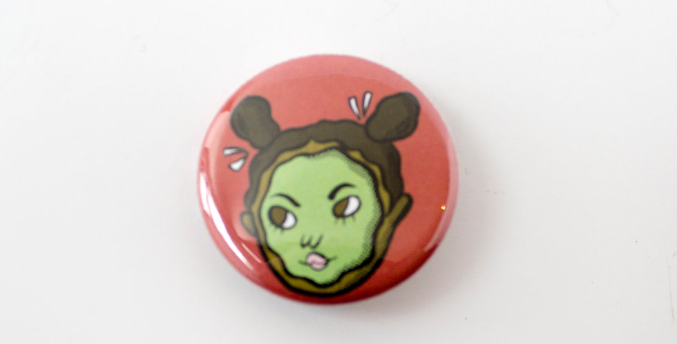 Tuesday Bassen Button Pin -Green Girl