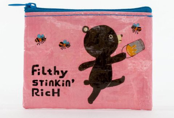 Blue Q Filthy Stinkin Rich coin purse