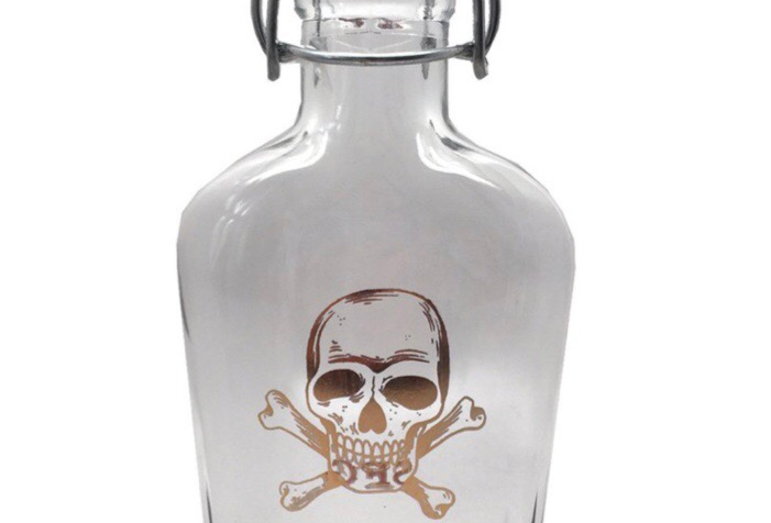 Spitfire Gold Skull Flask