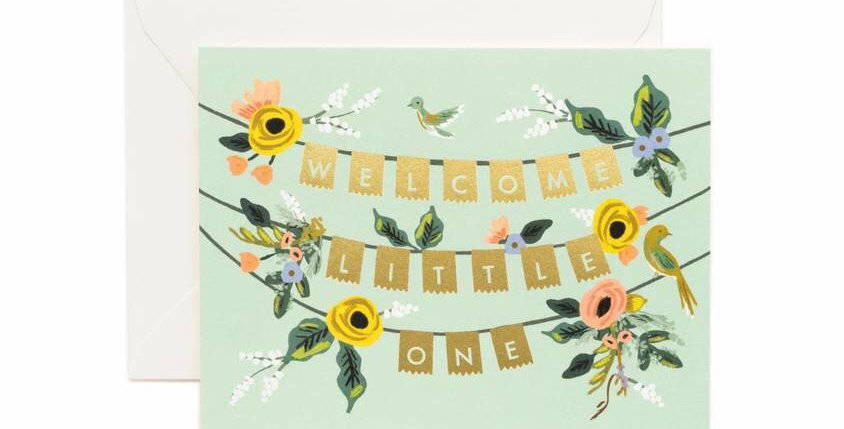 Rifle Paper Co Welcome Little One Banner card
