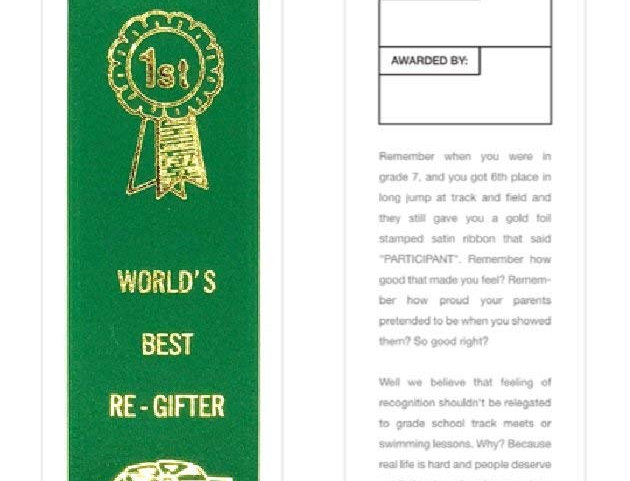 "Adulting For The Win ""World's Best Re-Gifter"" ribbon"