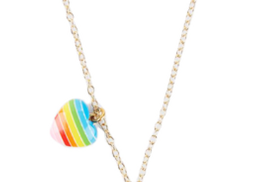 Bottleblond dog and heart small charm necklace