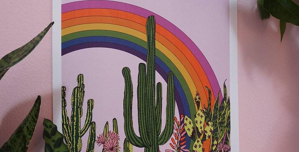 Ash + Chess Rainbow Cactus print