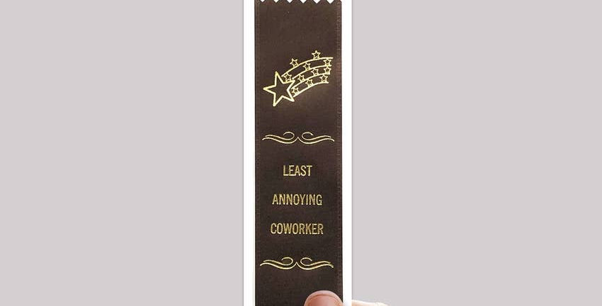 """Adulting FTW """"Least Annoying Coworker"""" ribbon"""