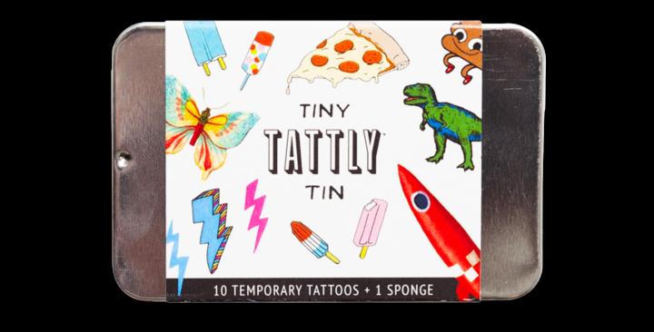 Tattly Tiny Funner temporary tattoo tin set