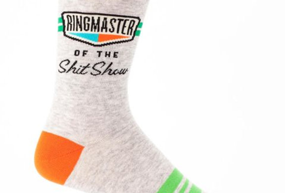 Blue Q Ring Master of the Shit Show mens sock