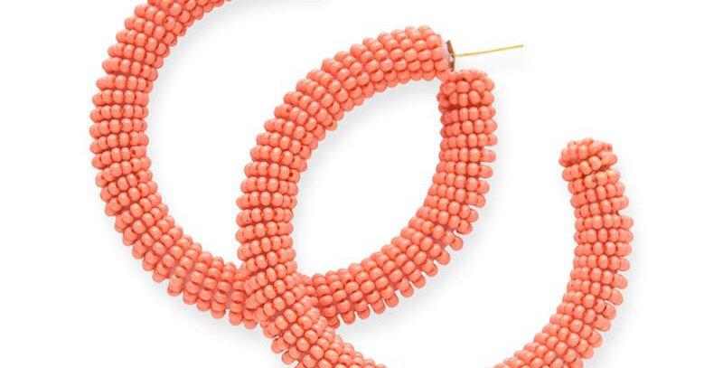 Ink & Alloy seed bead hoop in Coral