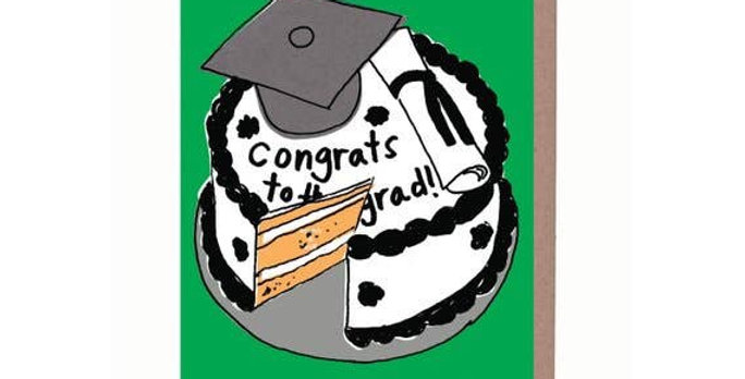 La Familia Green Grad Cake card