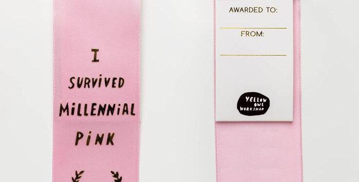 Yellow Owl Workshop Millennial Pink ribbon