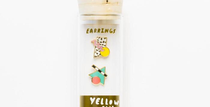 Yellow Owl mismatched earrings