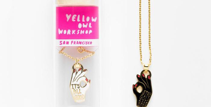 Yellow Owl double sided pendant necklace