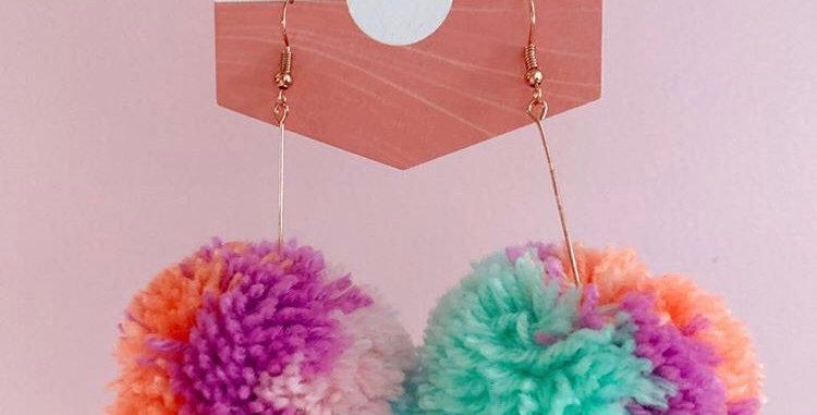 O'Fabz Pom earrings - Pastel Multi