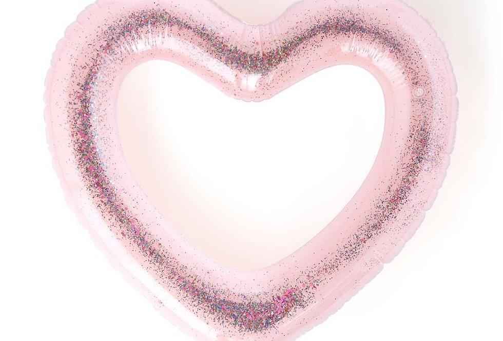 Bando Beach Please jumbo heart inter tube - glitter bomb pink