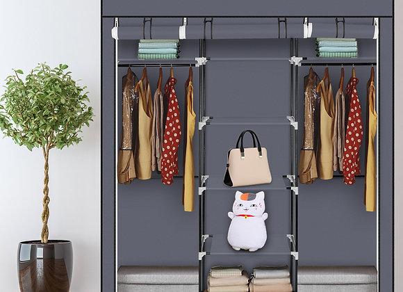 Double Portable Clothes Closet / Storage Unit - Grey