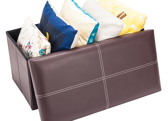 Brown Leather Effect Storage Footstool