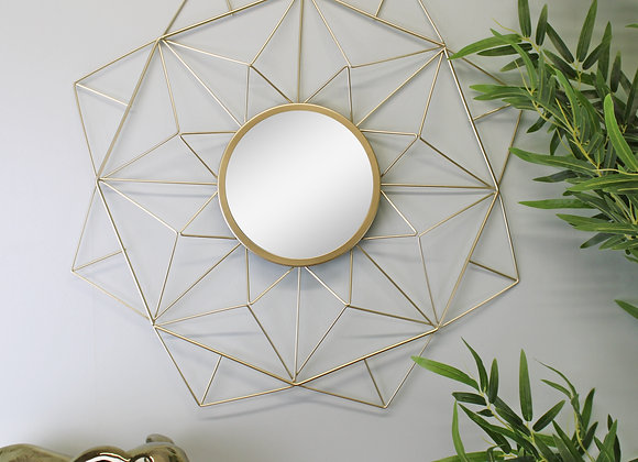 Gold Wire Geometric Design Mirror