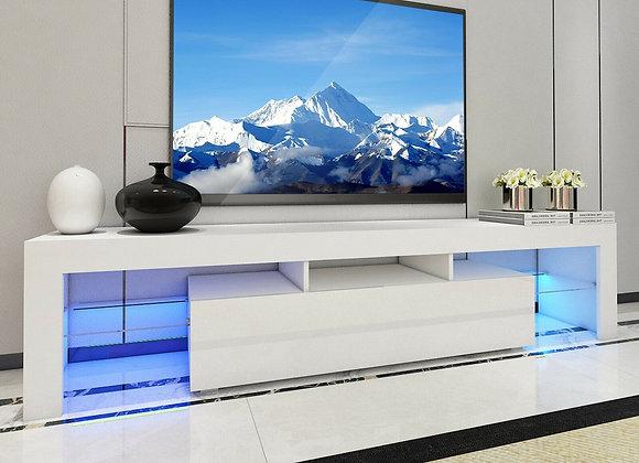 Large 200CM LED TV Stand Cabinet Unit Modern High Gloss Door LED Light White