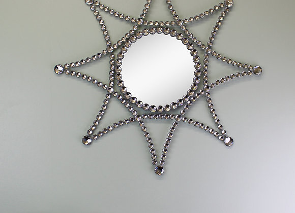 Silver Metal Jewelled Star Accent Mirror