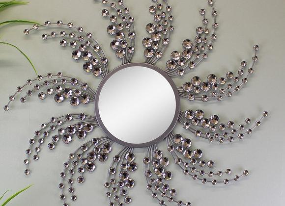 Silver Metal Jewelled Swirl Design Mirror