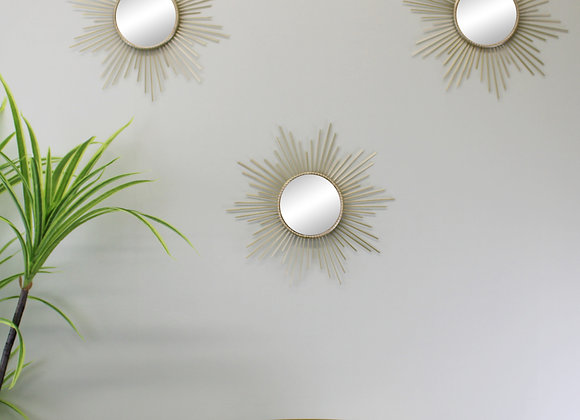 Set of 3 Gold Metal Sunburst Accent Mirrors