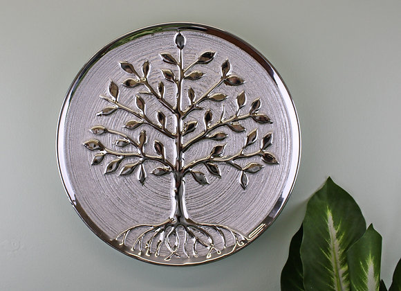 Tree Of Life Plate Ceramic Silver Wall Hanging or Freestanding 27cm